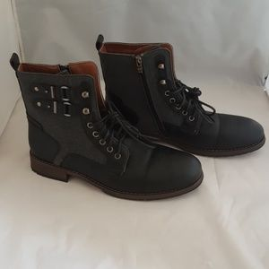 Polar Fox Gray Black Combat Boots Lace Up Zipper